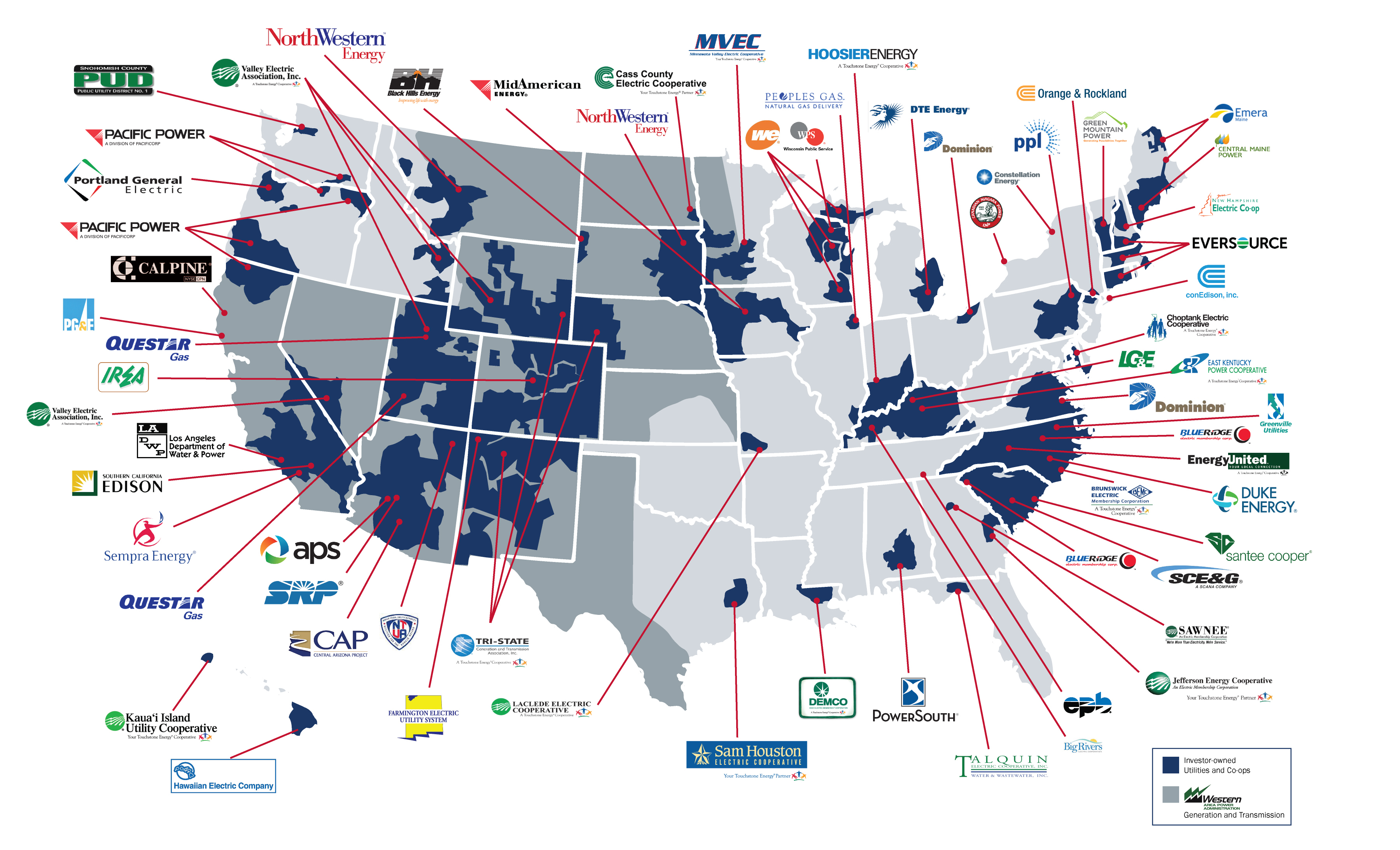 Utility Dispatch Communication Software Consoles Avtec Inc - Map of electric utilities in the us